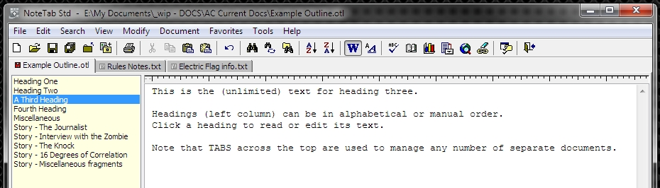 "Whole documents are listed on tabs across the top. Within an ""outline"" document, headings down the left provide structure."